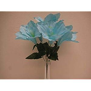 JumpingLight 6 Bushes Blue Amaryllis 6 Artificial Silk Flowers 16'' Bouquet 647BL Artificial Flowers Wedding Party Centerpieces Arrangements Bouquets Supplies 87
