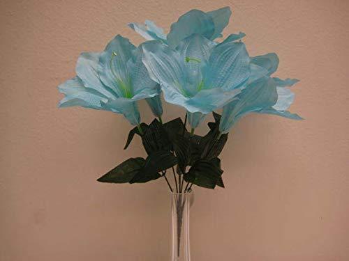 JumpingLight 6 Bushes Blue Amaryllis 6 Artificial Silk Flowers 16'' Bouquet 647BL Artificial Flowers Wedding Party Centerpieces Arrangements Bouquets Supplies - Amaryllis Bush
