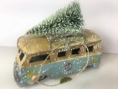 Volkswagon VW Iconic Classic Blue Bus Hippy Van Retro Bottlebrush Tree Hanging Christmas Ornament (Van Hippy)