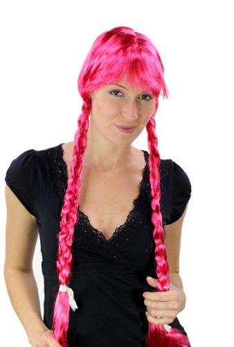 Party/Fancy WIG ME UP - Peluca pink, trenzas largas, Alpes, Heidi
