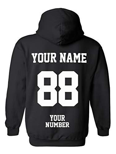 (Design Your OWN Hoodie - Custom Jersey Hoodies - Pullover Team Sweatshirts Black)