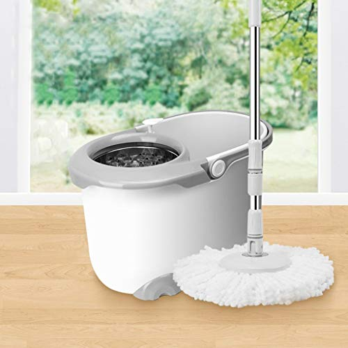 QYLSH Free Hand Rotation Mop Systems, Dual Drive Mop Bucket – Hand Pressure -3 Microfiber Cotton Spinning Head/for Floor (Color : Gray)