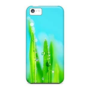 LJF phone case AmSuFaB4424PeQLG Anti-scratch Case Cover Mialisabblake Protective Water Drops On Grass Case For iphone 4/4s