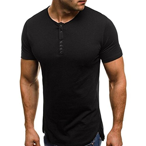 (vermers Clearance Deals Fashion Mens Henley Shirts Summer Casual Pure Color Round Collar T Shirt Tops(2XL, Black))
