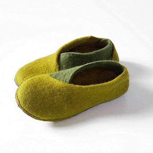 BureBure Envelope Felted Wool Slippers for Women Handmade in Europe Apple Green