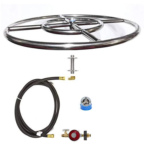 EasyFirePits Complete LP Basic Fire Pit Kit & Lifetime Warranted 316 Stainless Burner (24 Inch Double Round)