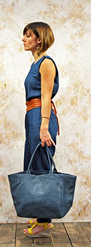 MON PARTENAIRE taglia M sbiadita blu cuoio tote bag in stile vintage PAUL MARIUS