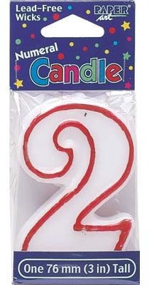 Creative Converting 80098033 #2 Red Outline Numeral Birthday Candle
