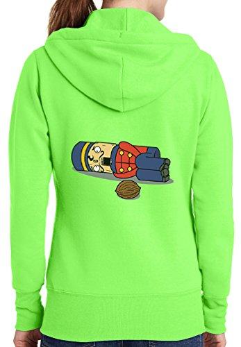 Womens Nut Cracker Full Zip Hoodie, Neon Green, 4X