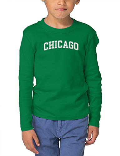 HAASE UNLIMITED Chicago - State Proud Strong Pride Long Sleeve Toddler Cotton Jersey Shirt (Kelly, 2T) -