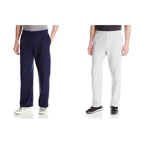 Blend Sweatpants Cotton (Fruit of the Loom Men's Pocketed Open-Bottom Sweatpants, Navy, Small with Sweatpants, Athletic Heather, Small)