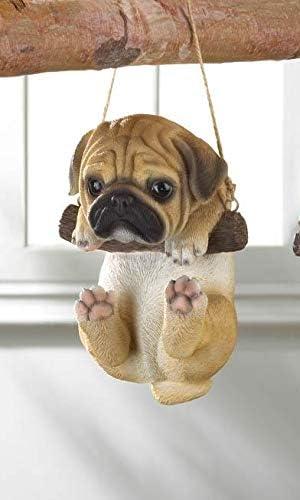 Amazon Com Tolbsplace Garden Decor Cute Swinging Pug Puppy Statue Garden Outdoor