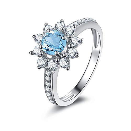 Brilliant Cut Tahitian Ring - Epinki 925 Sterling Silver Ring Anniversary Ring Engagement Brilliant Rings Wedding Blue with Blue Topaz Heart Ring White Gold Size 5