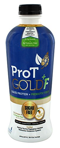 ProT GOLD +F Tropical Sugar Free Liquid Protein shots + Prebiotic Fiber - 30oz bottle with 30 1oz servings. A Clinically Proven Nano Hydrolyzed Collagen Protein used in 3K Medical Facilities