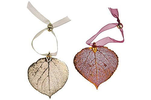 - Curious Designs Aspen Leaf Ornament Set - One Copper, One Gold, Real Leaves