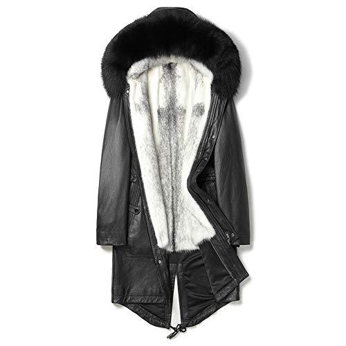 Import Cowhide Jacket Mens Black Leather Jacket Long Mink Coat Hooded Fox Fur Coat Fashion Parkas