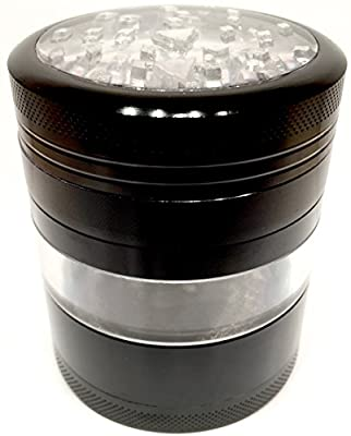 "Large Four Piece Black Aerospace Aluminum Metal Herb Grinder 2.5"" Wide 3.0"" Tall Clear top and Side Window Premium Grade"