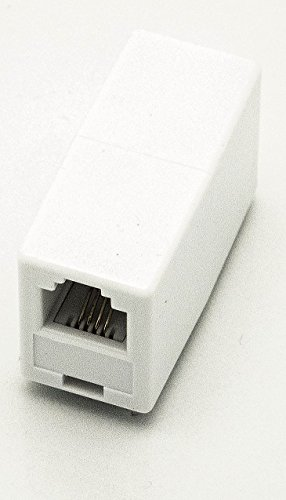 Phone Line Coupler - Modular In-Line Coupler - Phone Coupler - Classic White - Phone Jack Barrel Coupler- Telephone Line Coupler - Durable With secure Fit- No Static - iSoHo Phone Accessories (8 Way Modular Adapter)