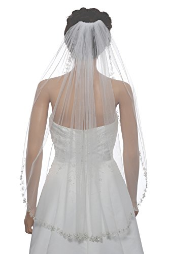 1T 1 Tier Floral Vine Pearl Beaded Bridal Wedding Veil - White Fingertip Length 36