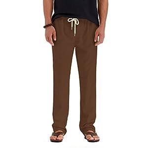 NITAGUT Men Casual Beach Trousers Linen Summer Pants