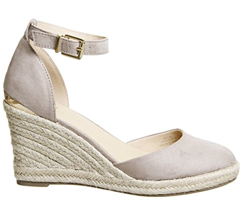 Office Marsha Closed Toe Espadrille Wedges Taupe With Gold Heel Clip v5stWJ