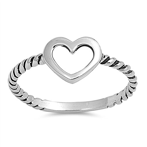 (Oxidized Twist Heart Purity Promise Ring New 925 Sterling Silver Band Size 8 )