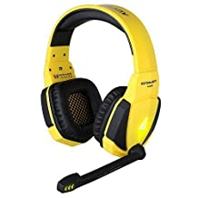 Gaming Headset, GranVela G4000 Stereo PC Gaming Headphone with Microphone, In-line Control and LED Lighting for Computer Game (Black-Yellow)
