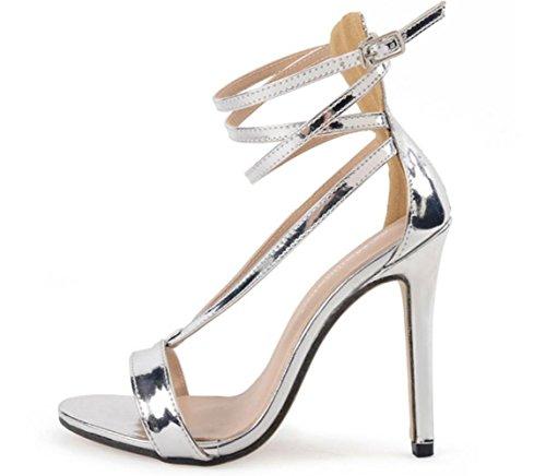 YCMDM le donne popolari d'argento tacco alto Croce sandali Europa e negli Stati Uniti , silver , 40