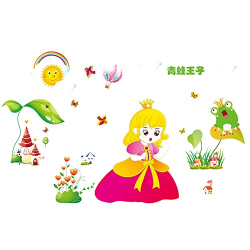 70502cm Kids Wall Sticker, Removable Stickers Wall Stickers in The Bedroom Living Room Lounges Home Window Glass Door Decor Bathrooms Frog Prince and Princess Style