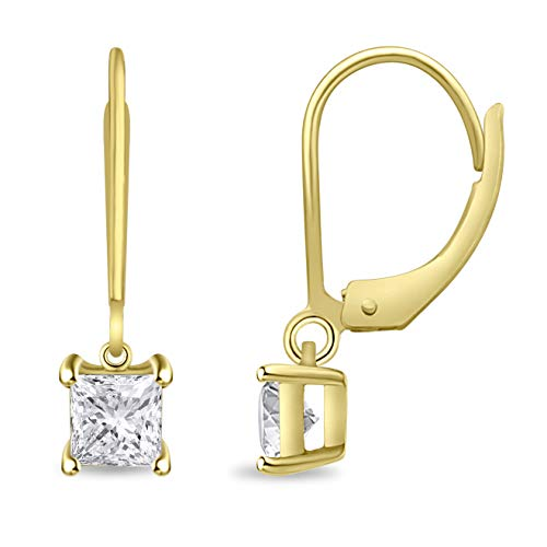 Diamond Scotch Jewelry Women 14k Yellow Gold Over Princess Cut Cubic Zirconia Lever Cut Dangle Earrings Mothers Day ()