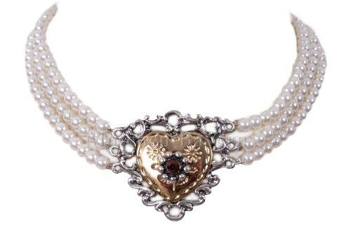Kropfband/Kropfkette Perlen mit Herz Silber-Gold - Trachtenschmuck/Dirndlschmuck Damen