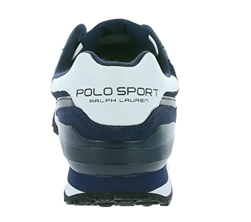 Polo Sport Ralph Lauren Slaton Pony Uomini Della Scarpa Da Tennis Blu Bianco