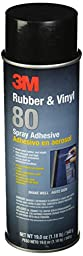 3M 80 Rubber and Vinyl Adhesive Spray, 24 oz Aerosol Spray (Net Weight 19 oz)