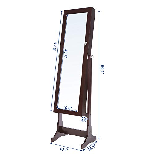 SONGMICS 6 LEDs Mirror Jewelry Cabinet Lockable Standing Mirrored Jewelry Armoire Organizer 2 Drawers Brown Mother's Day Gift UJJC94K by SONGMICS (Image #7)