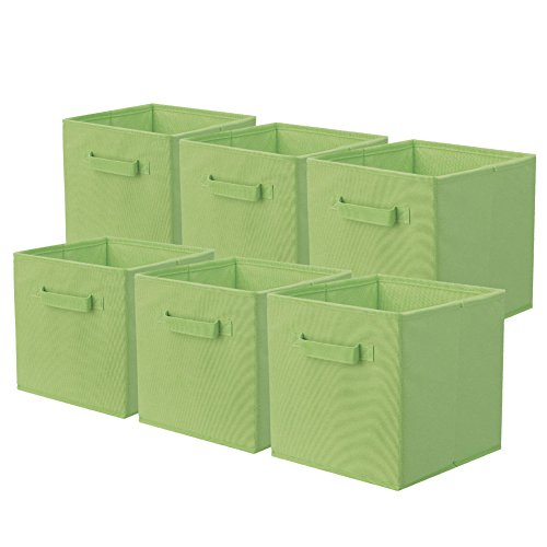 ShellKingdom Storage Bins, Foldable Fabric Storage Cubes and Cloth Storage Organizer Drawer for Closet and Toys Storage,6 Pack(Green) ()