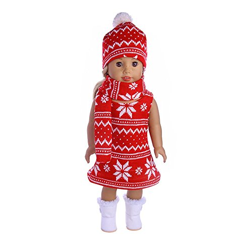 Hstore 18 Inch Skirt&Hat&Scarf Suit Doll Clothes For American girls Doll Xmas Gift toys (B) -
