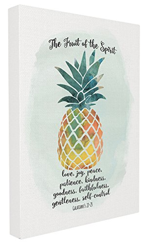 Spirit Canvas Art - Stupell Home Décor The Fruit of the Spirit Multicolored Pineapple Oversized Stretched Canvas Wall Art, 24 x 1.5 x 30, Proudly Made in USA