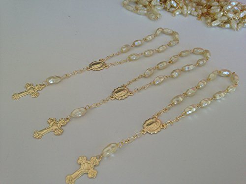 25 Pc Ivory Color Baptism Favors Gold Plated Mini Rosaries Faux Pearls Rice Shaped Beads/ Recuerditos De Bautismo/ Christening Favors/ Decenarios/ Decades/ Finger Rosaries
