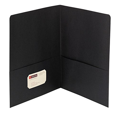 Smead Two-Pocket Heavyweight Folder, Letter Size, Black, 25 per Box (87853) 2 Pocket Portfolio Die Cut