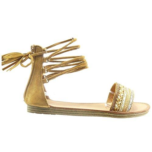 Angkorly - Zapatillas de Moda Sandalias gladiator mujer fleco pompom strass Talón tacón plano 1 CM - Camel