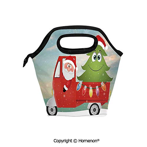Insulated Neoprene Soft Lunch Bag Tote Handbag lunchbox,3d prited with Santa in Red Vintage Truck with Fun Cartoon Xmas Tree and Colorful Fairy Lights,For School work Office Kids Lunch Box & Food Con