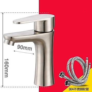 WasserhahnTap 304 - Grifo para Lavabo (Acero Inoxidable, 1 ...