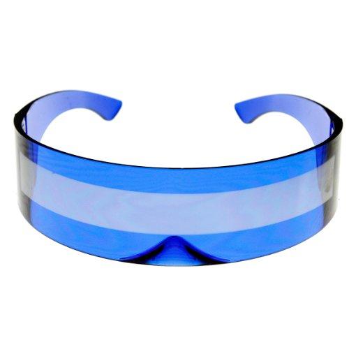 (zeroUV - 80s Futuristic Cyclops Cyberpunk Visor Sunglasses with Semi Translucent Mirrored Lens (Clear)