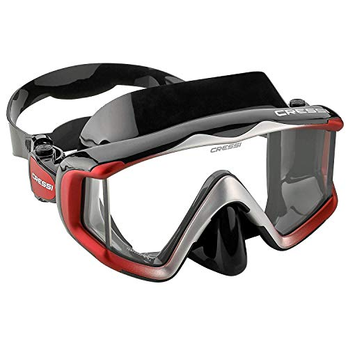 Cressi Adult Panoramic View Diving Mask - Pure Comfortable Silicone Snorkeling, Freediving Mask Made from Clear Tempered Glass, Black Silicone/Metallic Red (Renewed)