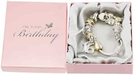 16th Birthday Charm Bracelet with Hearts, Stars and Rings By Haysom Interiors