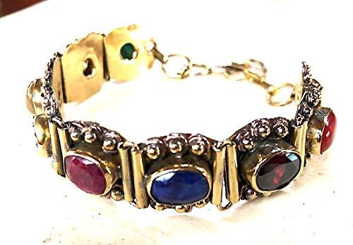 Red Green Navratan healing Bracelet 9 Planets Gemstone Bracelet Navratana Semi precious stones men women bracelet/Helps Remove planets Malefic Effects/Approx. L8