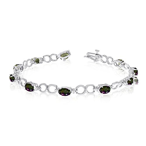 5.70 Carat (ctw) 14k White Gold Oval Multi-Colored Mystic-Topaz and Diamond Open Link Tennis Bracelet - 7