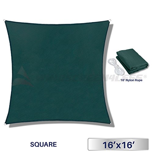 Windscreen4less 16' x 16' Sun Shade Sail Square Canopy in Green with Commercial Grade (3 Year Warranty) Customized Sizes Available