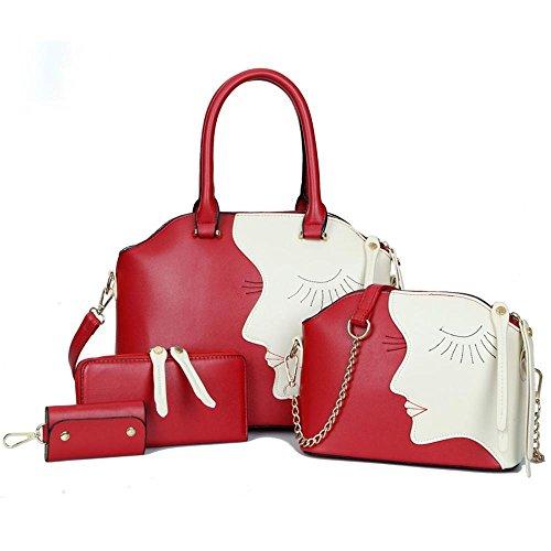 Aoligei Beauté tête quatre morceaux du paquet femelle, européenne et américaine de la mode en relief multi-usage de sac à main épaule unique Ament sac A
