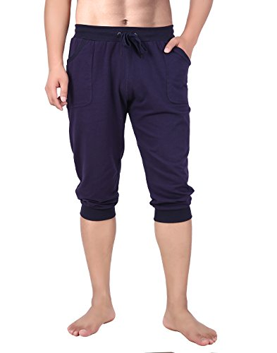 HDE Mens Workout Jogger Casual Waistband Sport Training Cuffed Yoga Capri Pant (Navy Blue, Small)